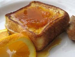 Citrus French toast with lemon vanilla syrup